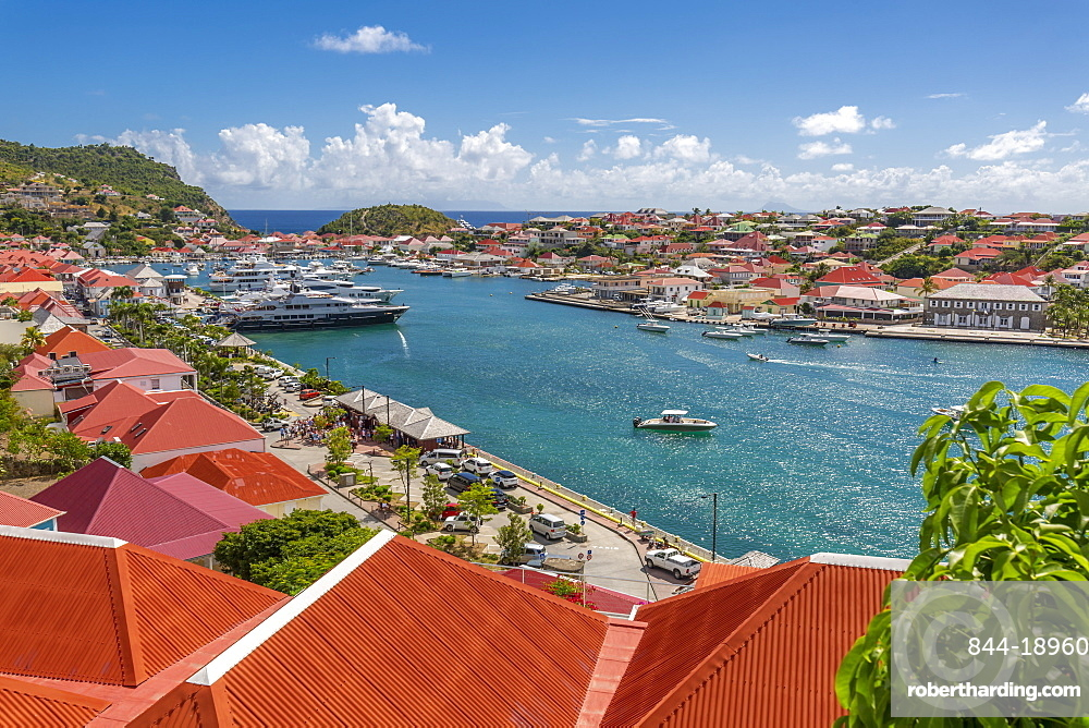 Elevated view of the harbour, Gustavia, St. Barthelemy (St. Barts) (St. Barth), West Indies, Caribbean, Central America