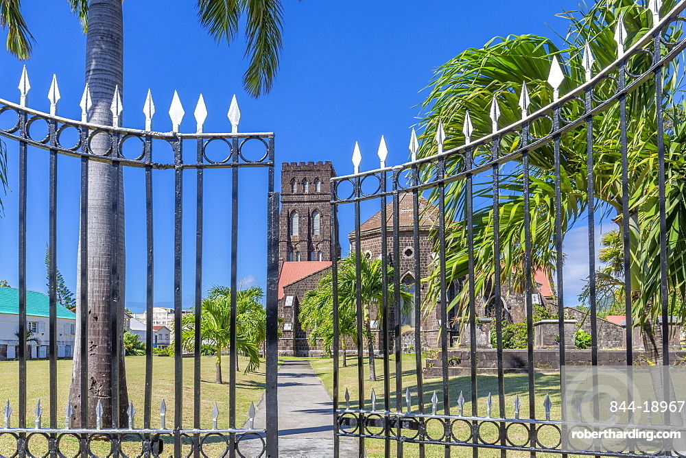 View of Saint George with Saint Barnabas Anglican Church, Basseterre, St. Kitts and Nevis, West Indies, Caribbean, Central America