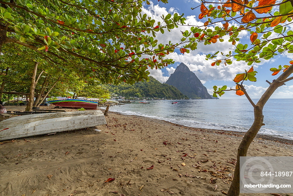 View of the Pitons from Soufriere Beach, UNESCO World Heritage Site, beyond, St. Lucia, Windward Islands, West Indies Caribbean, Central America