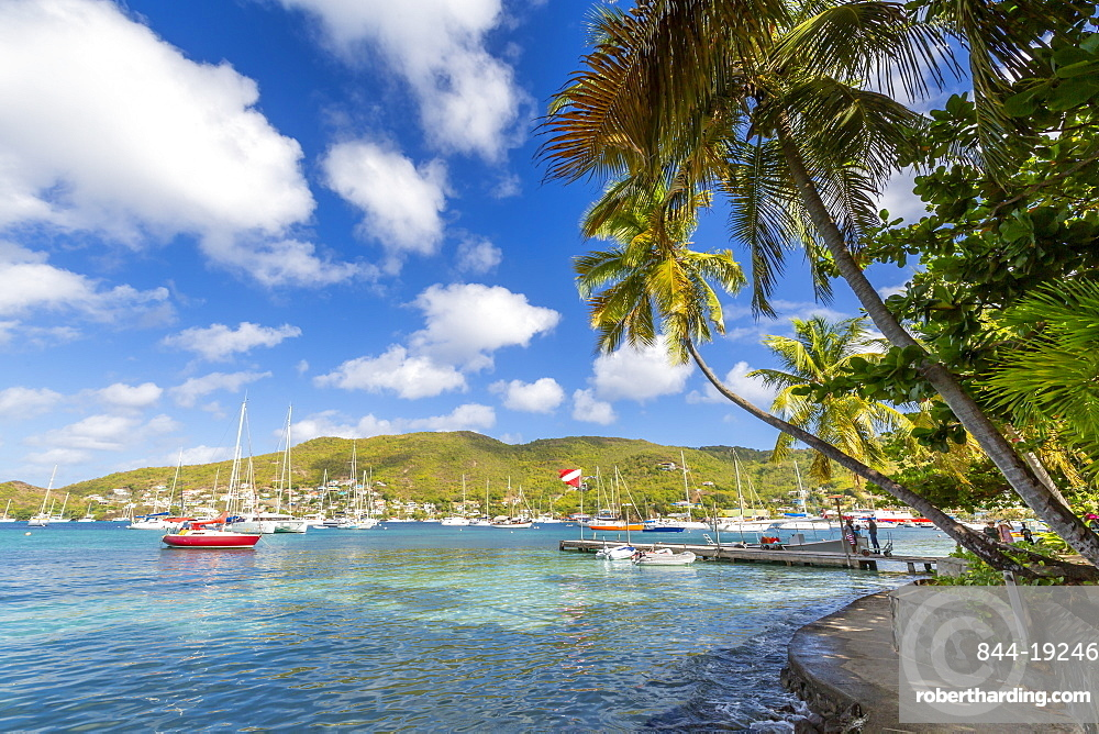 Boats in Port Elizabeth, Admiralty Bay, Bequia, The Grenadines, St. Vincent and the Grenadines, Windward Islands, West Indies, Caribbean, Central America