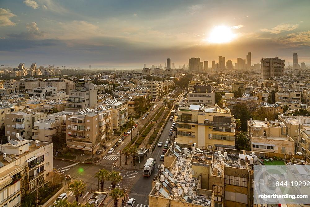 Sunrise over Tel Aviv's city skyscrapers, Tel Aviv, Israel, Middle East