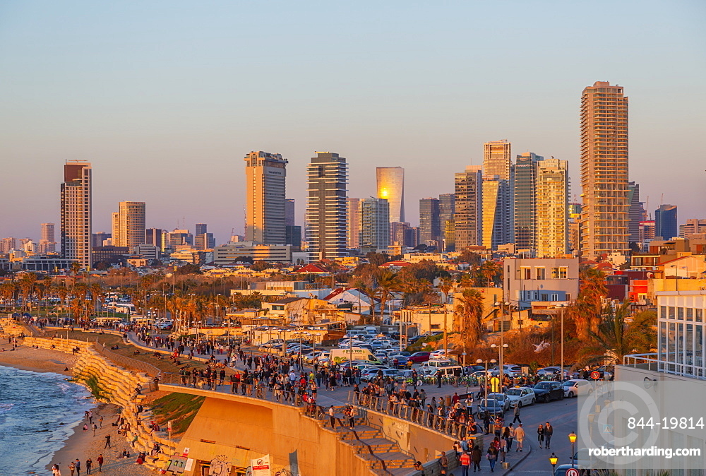 View of Tel Aviv from Jaffa Old Town at sunset, Tel Aviv, Israel, Middle East