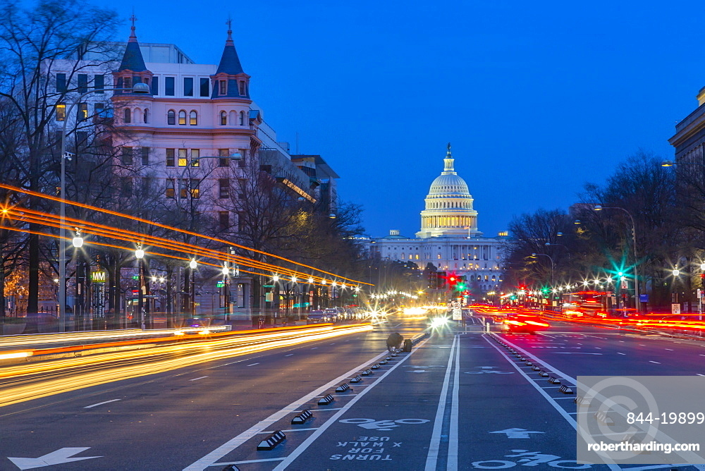 View of the Capitol Building at dusk from Pennsylvania Avenue, Washington DC, District of Columbia, United States of America