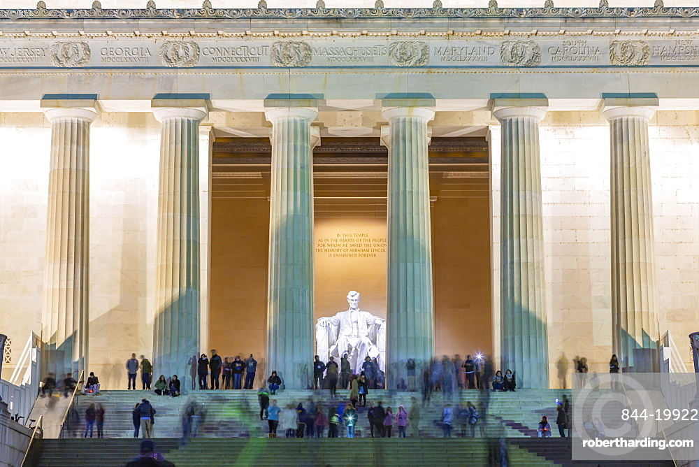View of Lincoln Memorial at dusk, Washington DC, District of Columbia, United States of America