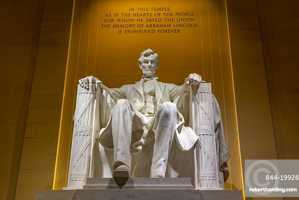 View of Lincoln statue in the Lincoln Memorial at night, Washington DC, District of Columbia, United States of America