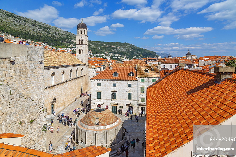 View of red rooftops and Franciscan Church and Monastery, Dubrovnik Old Town, UNESCO World Heritage Site, and Adriatic Sea, Dubrovnik, Dalmatia, Croatia, Europe