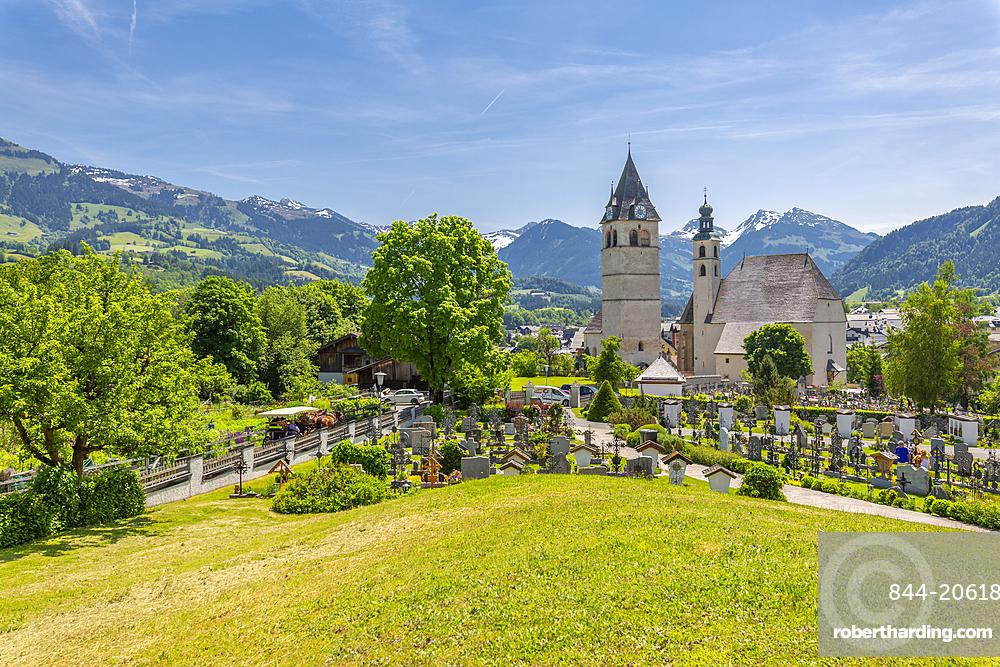 View of town and surounding mountains, Kitzbuhel, Austrian Tyrol, Austria, Europe