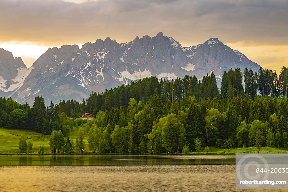 View of the Wilder Kaiser Mountain Range from Schwarzsee near Kitzbuhel, Austria, Europe