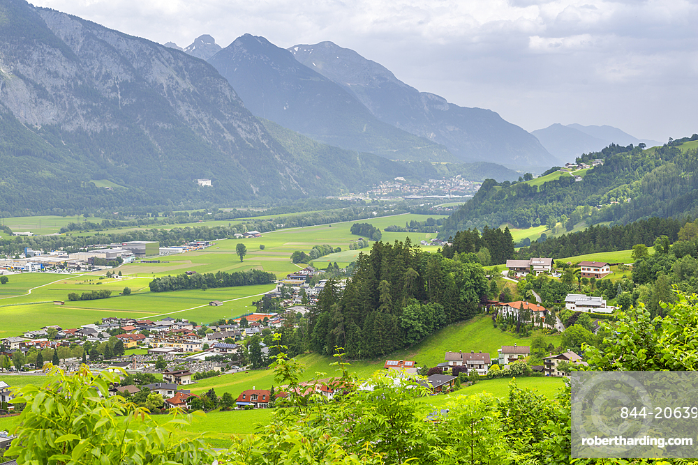 View of valley and mountains at Schwaz from view above the town, Schwaz, Austria, Europe