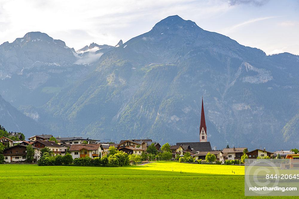 View of village Church in the Tuxertal valley, Mayrhofen, Zillertal Valley, Tyrol, Austria, Europe