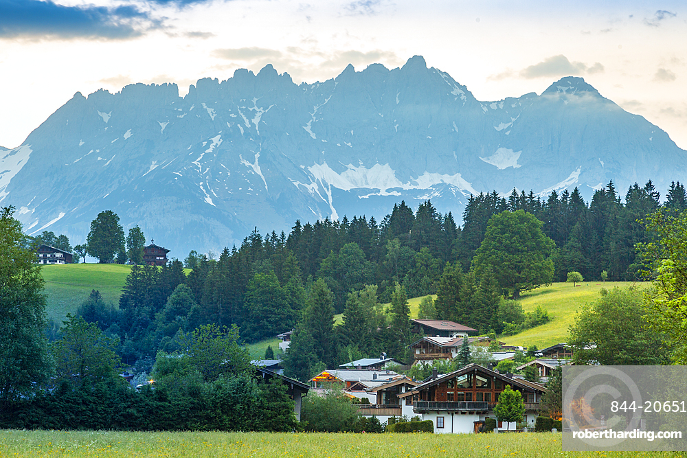 View of Reith bei Kitzbuhel and Wilder Kaiser mountain range, Tyrol, Austrian Alps, Austria, Europe