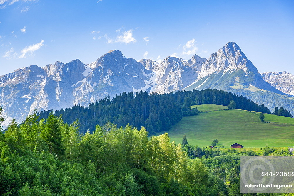 View of Fritzerkogel mountain peak from near Nischofshofen, Upper Austria region of the Alps, Salzburg, Austria, Europe
