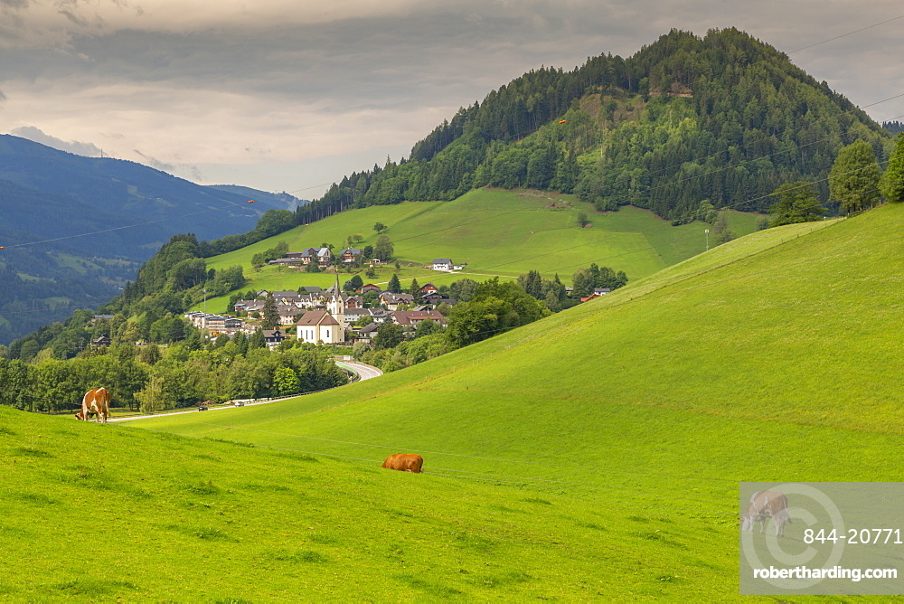 View of church and landscape at Grobming, Styria, Austria, Europe