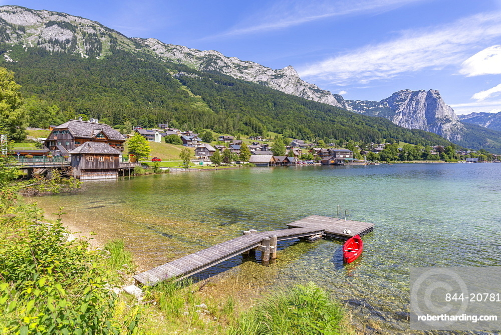 View of Grundlsee village on the shore of lake, Grundlsee, Styria, Austria, Europe