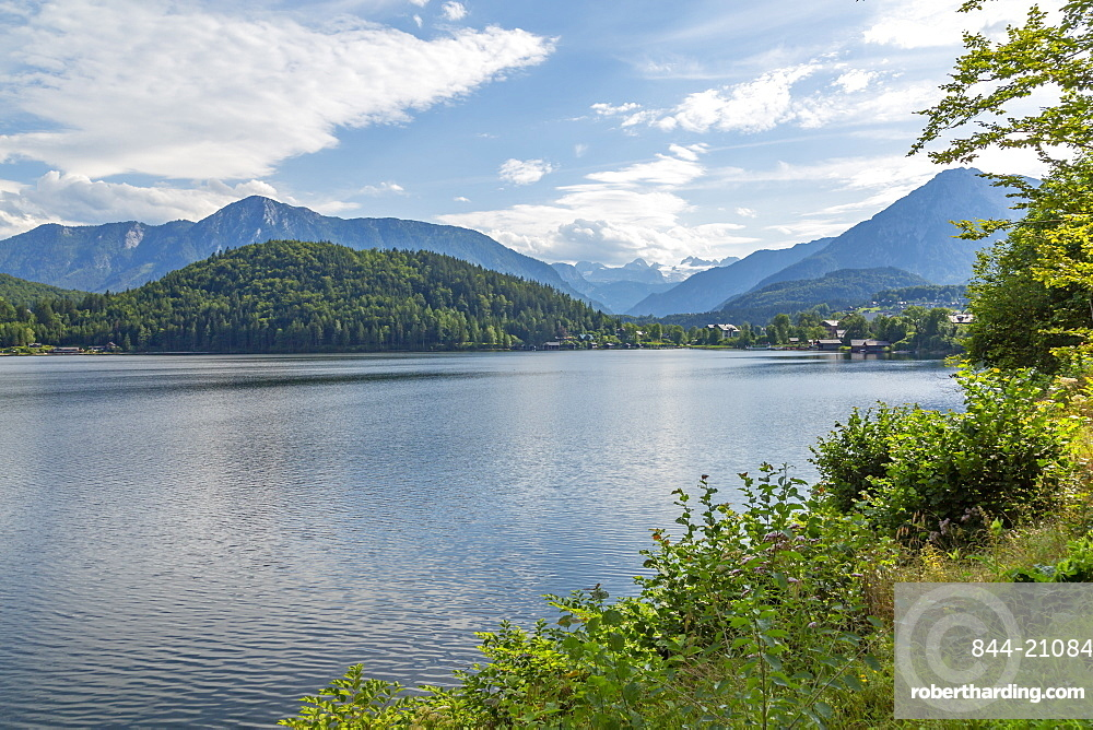 View of taditional chalets and Grundlsee, Styria, Austria. Europe