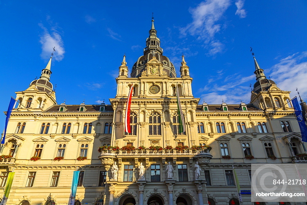 View of colourful Rathaus bathed in late sunlight, Graz, Styria, Austria. Europe