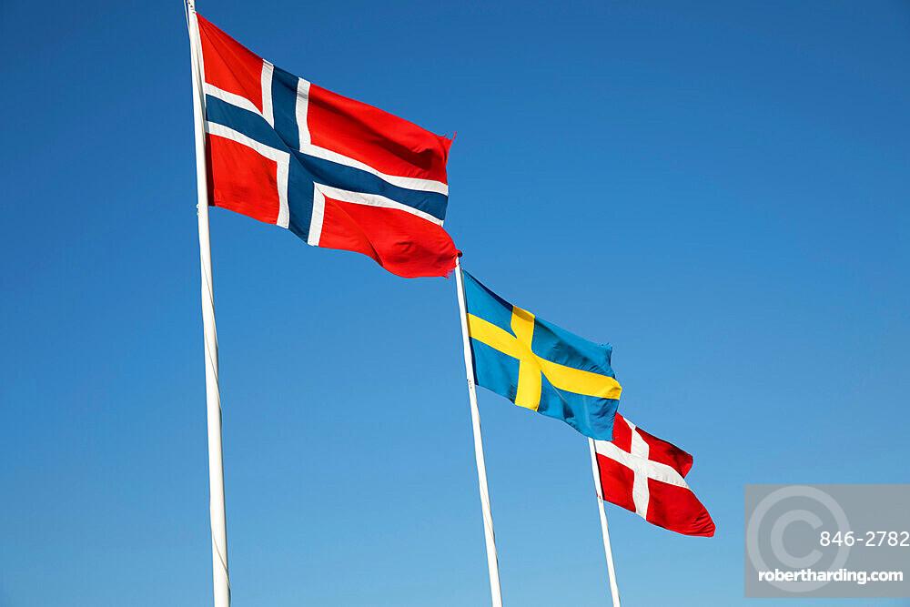 Scandinavian country flags against blue sky, Hornbaek, Kattegat Coast, Zealand, Denmark, Scandinavia, Europe