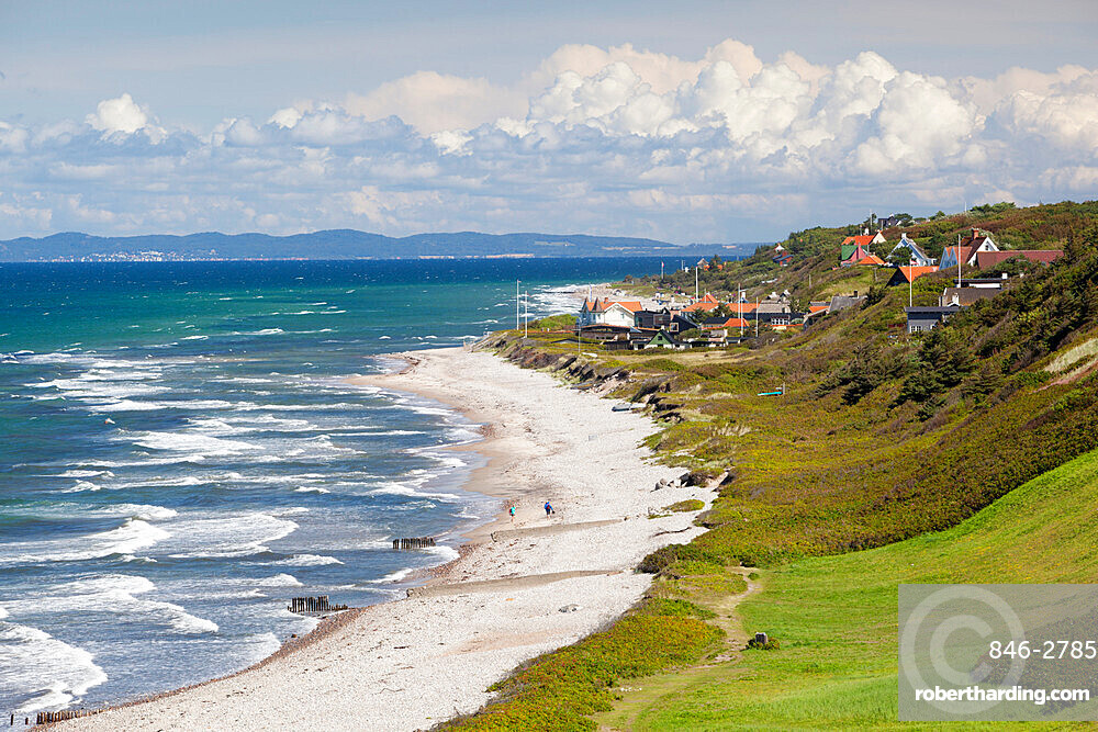 View over Rageleje Strand beach with Swedish coastline in distance, Rageleje, Kattegat Coast, Zealand, Denmark, Europe