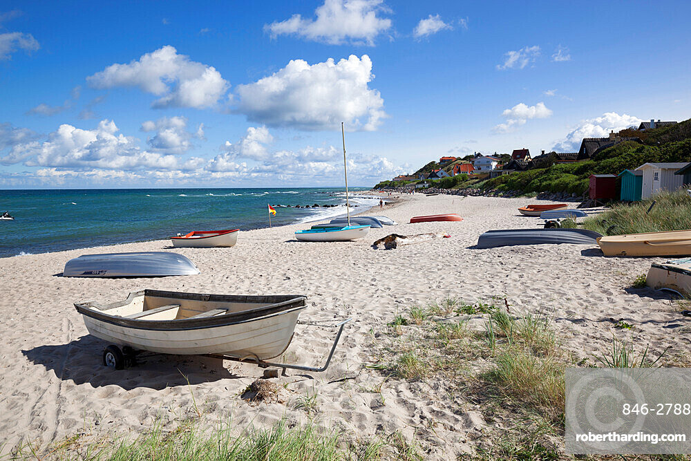 Boats on white sand beach and town behind, Tisvilde, Kattegat Coast, Zealand, Denmark, Europe