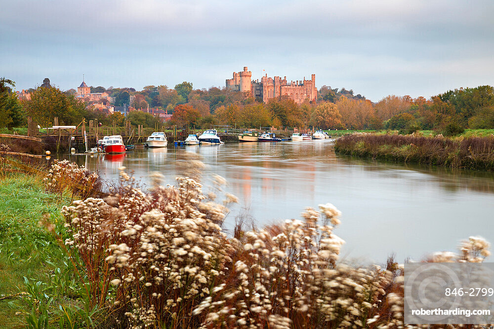 Arundel Castle on the River Arun at sunrise in autumn, Arundel, West Sussex, England, United Kingdom, Europe