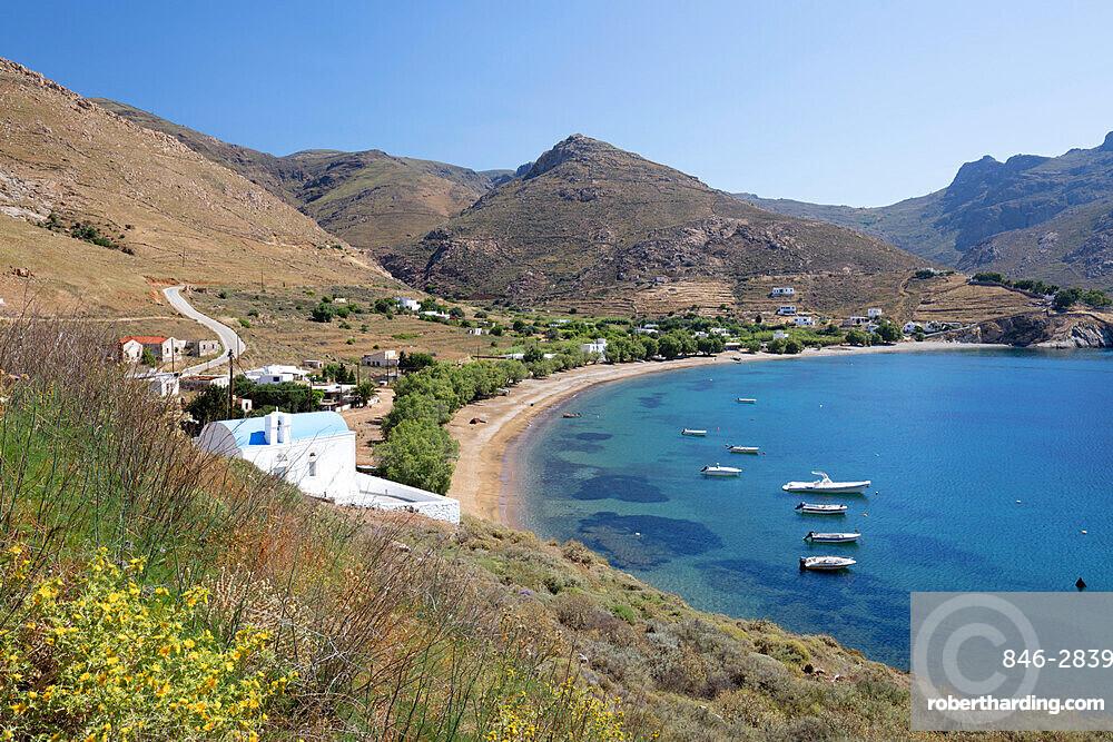 View over Koutalas bay and beach on island's south east coast, Serifos, Cyclades, Aegean Sea, Greek Islands, Greece, Europe
