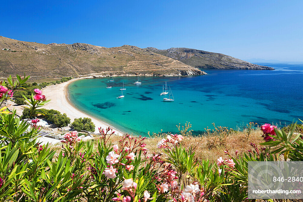 View over Ganema beach on island's south coast, Serifos, Cyclades, Aegean Sea, Greek Islands, Greece, Europe