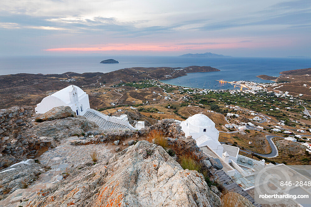 View of Livadi Bay and white Greek Orthodox churches from atop Pano Chora, Serifos, Cyclades, Aegean Sea, Greek Islands, Greece