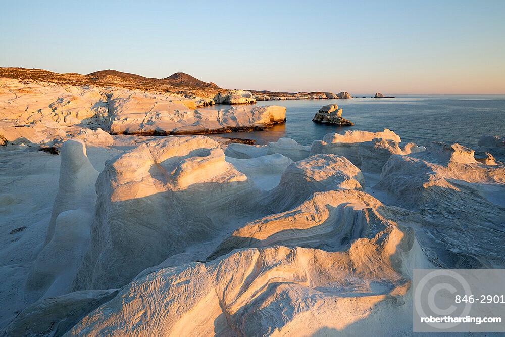 Volcanic rock formations at Sarakiniko on north coast, Sarakiniko, Milos, Cyclades, Aegean Sea, Greek Islands; Greece; Europe