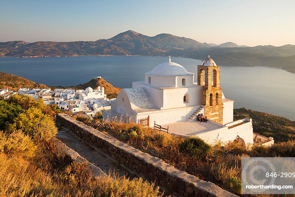 View of Plaka with Greek Orthodox church and Milos Bay from Plaka Castle, Milos, Cyclades, Aegean Sea, Greek Islands, Greece, Europe