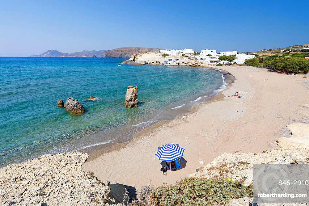Pachena beach with clear turquoise water, Pachena, Milos, Cyclades, Aegean Sea, Greek Islands, Greece, Europe