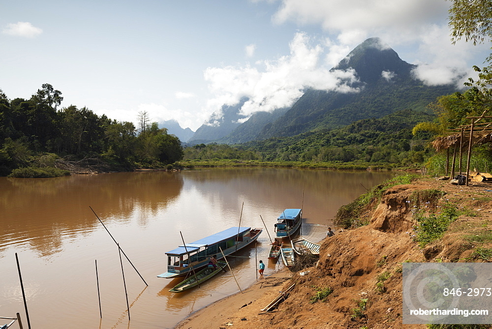 Boats on the Nam Ou River about 20 minutes north of Nong Khiaw, Luang Prabang Province, Northern Laos, Laos, Southeast Asia
