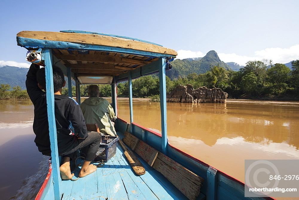 Boat trip on the Nam Ou River near Nong Khiaw, Muang Ngoi District, Luang Prabang Province, Northern Laos, Laos, Southeast Asia