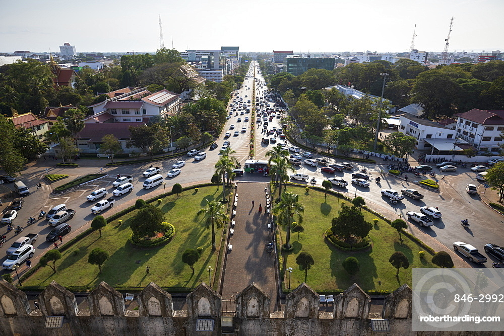 Lane Xang Avenue viewed from top of the Patuxai Victory Monument (Vientiane Arc de Triomphe), Vientiane, Laos, Southeast Asia