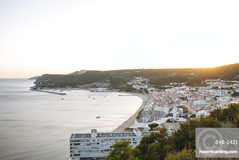 Sunset over Seisimbra, Setubal District, Portugal, Europe