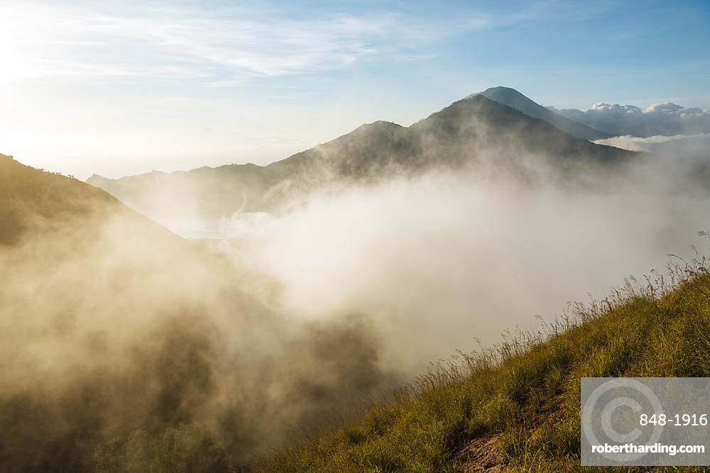 View at sunrise from Summit of Mount Batur, Batur, Bali, Indonesia, Southeast Asia, Asia
