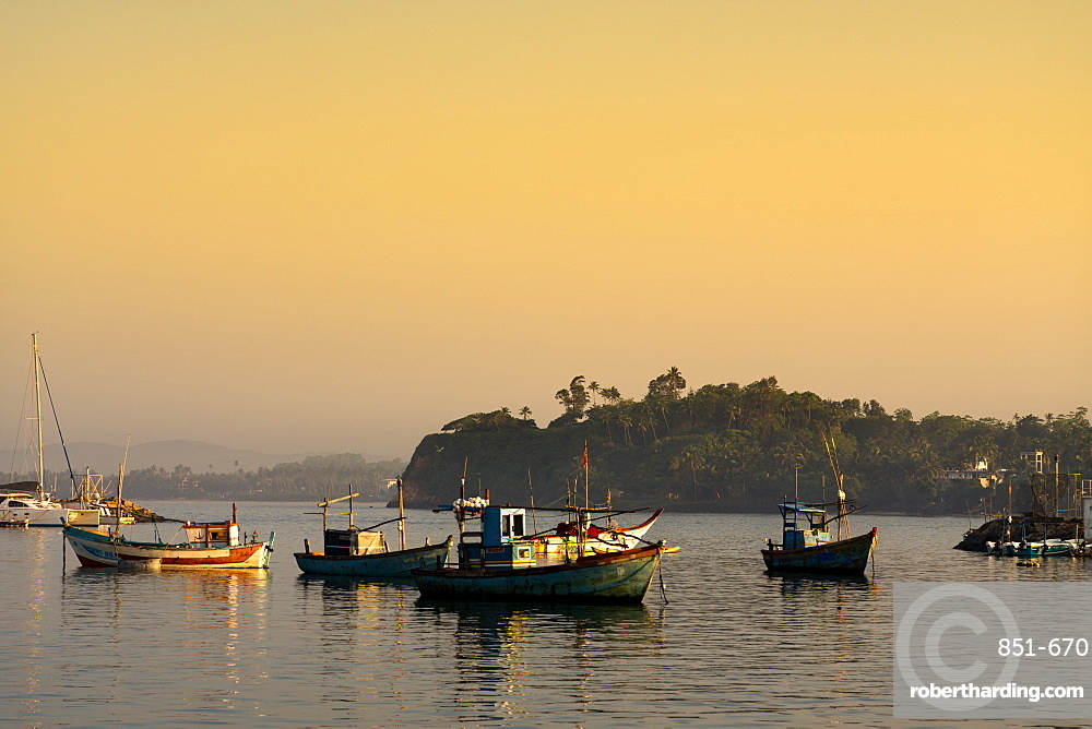 Boats in Mirissa harbour at sunset, Sri Lanka, Asia