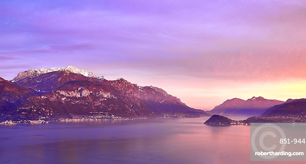 Bellagio & Varenna viewed from Menaggio on the western shore of Lake Como at sunset.