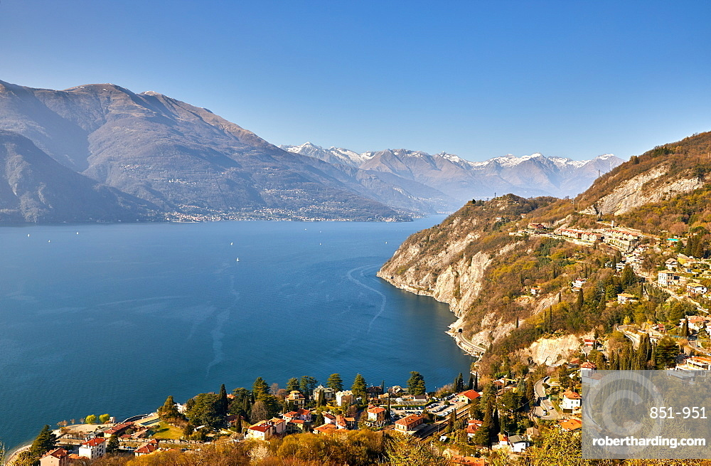 High angle view of Lake Como from Castle Vezio with Varenna & Gittana, Italy.