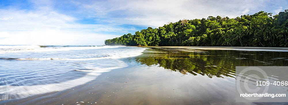 Playa Arco Beach and primary rainforest, Uvita, Marino Ballena National Park, Puntarenas Province, Pacific Coast of Costa Rica