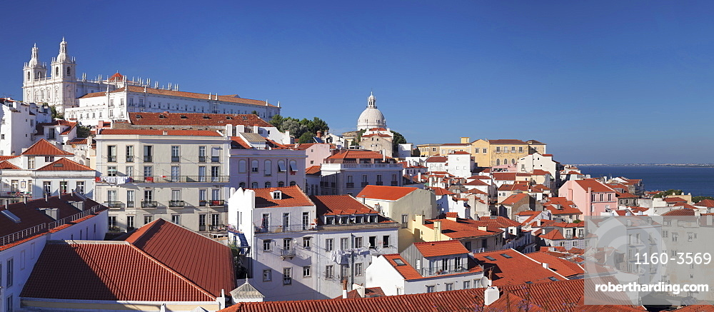 Santa Luzia viewpoint, Sao Vicente de Fora monastery, National Pantheon, Alfama district, Lisbon, Portugal, Europe