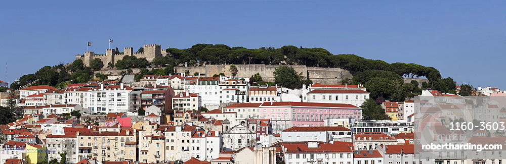 View over the old town to Castelo de Sao Jorge castle, Lisbon, Portugal, Europe
