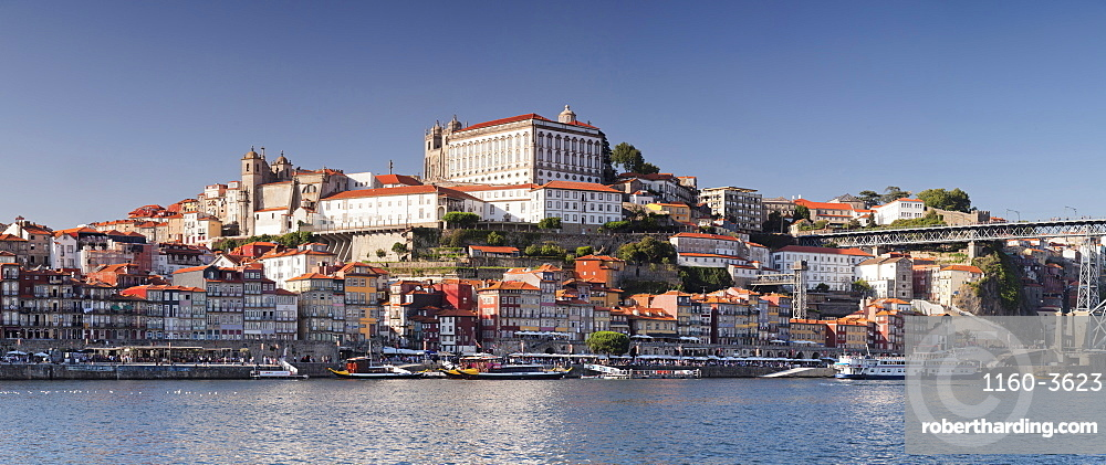 View over Douro River to Ribeira District, UNESCO World Heritage Site, Se Cathedral, Porto (Oporto), Portugal, Europe