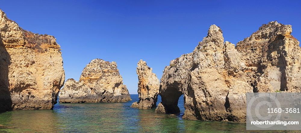 Rocky coast at Ponta da Piedade Cape, near Lagos, Algarve, Portugal, Europe