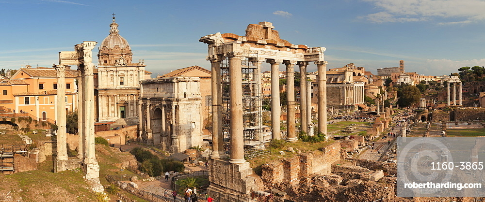 Roman Forum, Foro Romano, Temple of Saturn and Arch of Septimius Severus, Rome, Lazio, Italy