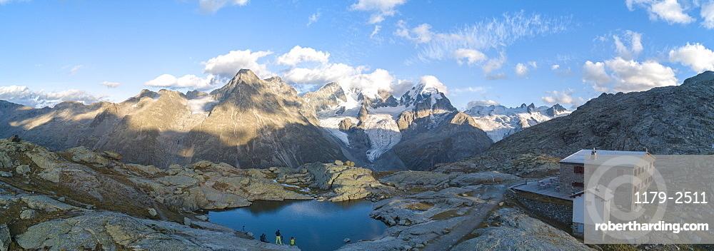 Panoramic of Bernina massif and Roseg Valley from Fuorcla Surlej, Engadine, Canton of Graubunden, Swiss Alps, Switzerland, Europe