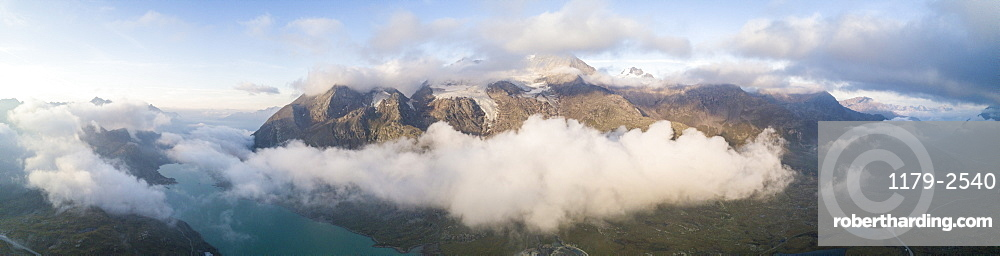 Panoramic of Piz Arlas, Cambrena, Caral at dawn Bernina Pass, Poschiavo Valley, Engadine, Canton of Graubunden, Switzerland, Europe (Drone)