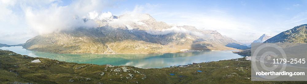 Panoramic of mountain peaks and Lago Bianco, Bernina Pass, Poschiavo Valley, Engadine, Canton of Graubunden, Switzerland, Europe (Drone)
