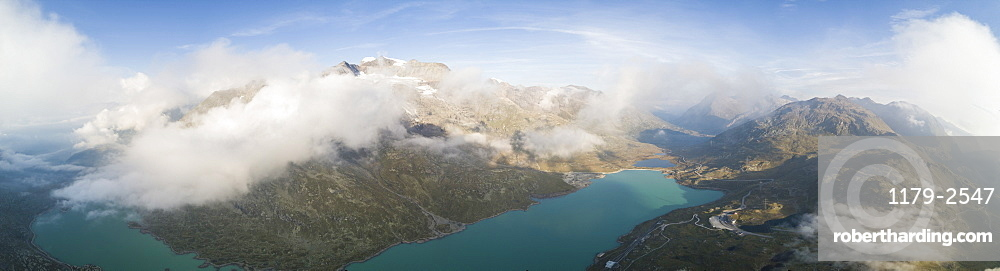 Panoramic of mountain peaks and Lago Bianco, Bernina Pass, Poschiavo Valley, Engadine, Canton of Graubunden, Switzerland, Europe (Drone)
