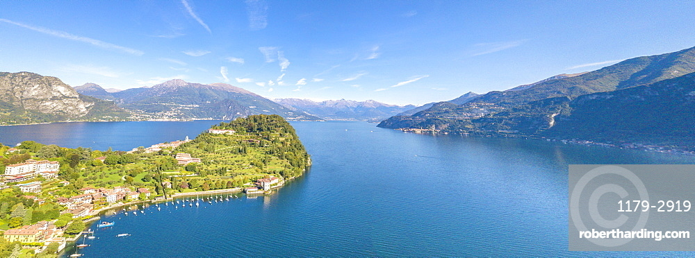 Panoramic aerial view of the village of Pescallo and Lake Como, Bellagio, Province of Como, Lombardy, Italian Lakes, Italy, Europe (Drone)