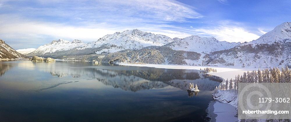 Aerial panoramic view of Lake Sils and Plaun da Lej during winter, Maloja Region, Canton of Graubunden, Engadin, Switzerland